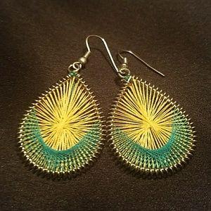 Jewelry - Yellow & Teal Earrings